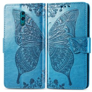 Butterfly Love Flowers Embossing Horizontal Flip Leather Case for OPPO Reno, with Holder & Card Slots & Wallet & Lanyard(Blue)