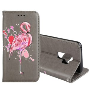 For Galaxy S9+ Flamingo Print Horizontal Flip Leather Case with Holder & Wallet & Card Slots & Photo Frame (Grey)