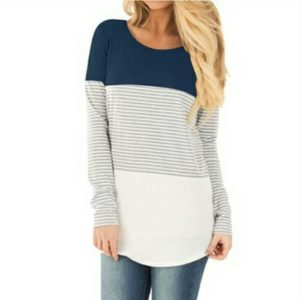 Autumn Women Maternity Tops Long Sleeve Striped Nursing Tops T-shirt(Navy Blue)