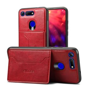 Dibase TPU + PC + PU Crazy Horse Texture Protective Case for Huawei Honor View 20, with Holder & Card Slots (Red) (dibase)