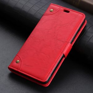 Copper Buckle Retro Crazy Horse Texture Horizontal Flip Leather Case for Galaxy J8 (2018), with Holder & Card Slots & Wallet (Red)