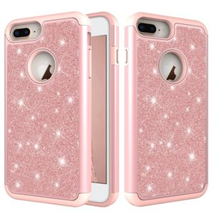 Glitter Powder Contrast Skin Shockproof Silicone + PC Protective Case for iPhone 6 Plus & 6s Plus & 7 Plus & 8 Plus (Rose Gold)