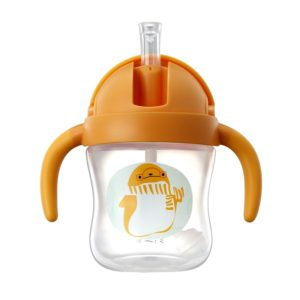 Food Grade Plastic Child Cute Sippy Water Bottle With Handle(Orange 180ml)