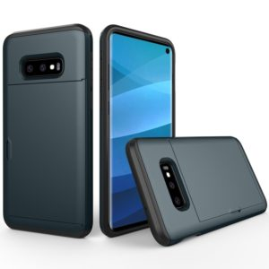 Shockproof Rugged Armor Protective Case for Galaxy S10e, with Card Slot(Navy Blue)
