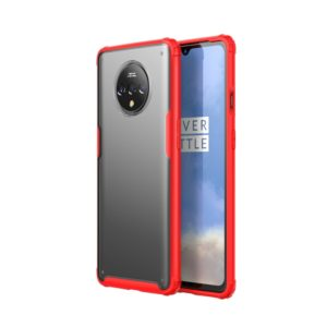 For Oneplus 7T Shockproof Frosted PC+ TPU Transparent Protective Case(Red)