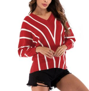 Autumn and Winter Solid Color Long-sleeved Pullover Sweater (Color:Red Size:L)