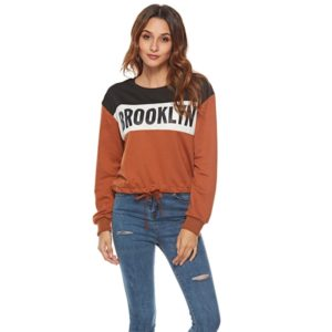 Women Letter Sleeve Long Sleeve Sweatshirt (Color:Orange Size:S)