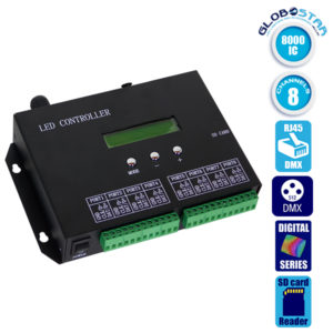 LED Digital Controller T8000PRO 8000 IC DMX512 SD CARD Profesional Series GloboStar (88771)