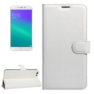 For OPPO R9s Plus Litchi Texture Horizontal Flip Leather Case with Magnetic Buckle & Holder & Card Slots & Wallet(White)