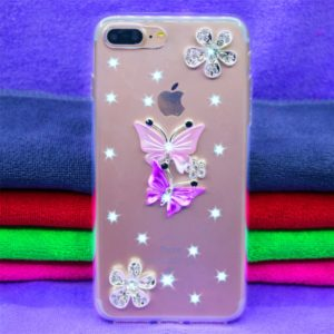 Fevelove Diamond Encrusted Christmas Santa Claus Pattern TPU Protective Case for iPhone 7P / 8P(Butterfly lovers)