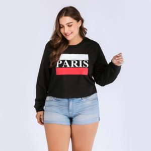 Plus Size Women Printed Round Neck Sweatshirt (Color:Black Size:XL)