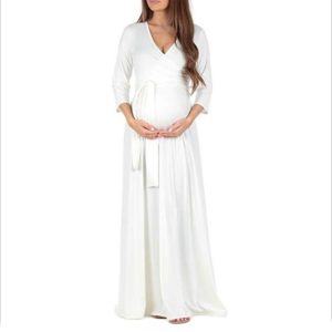 Cross Deep V-neck Waist Cropped Sleeve Maternity Dress (Color:White Size:M)