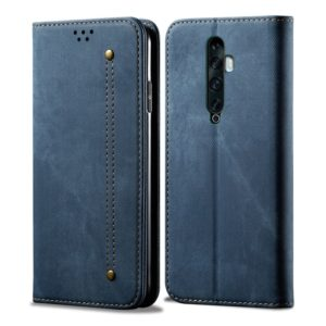 For OPPO Reno 2 Denim Texture Casual Style Horizontal Flip Leather Case with Holder & Card Slots & Wallet(Blue)