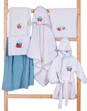 Κάπα Βρεφική Baby Hooded Towel Embroidered Train Cotton Anna Riska (75x75) 1Τεμ