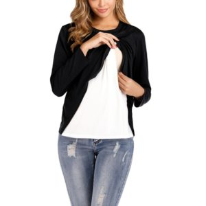 Round Neck Long Sleeve Maternity Breastfeeding Blouse (Color:Black Size:XXL)