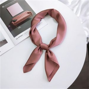 Soft Imitated Silk Fabric Solid Color Small Square Scarf Professional Silk Scarf for Women, Length: 70cm(Deep Pink)
