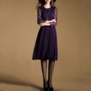 Lady Lace Loose Long Paragraph Pleated Dress (Color:Purple Size:One Size)
