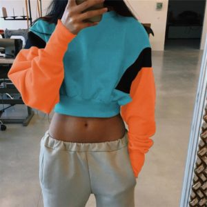 Women Sports Stitching Candy Color Long Sleeve Navel Sweater, Size: M(Blue)