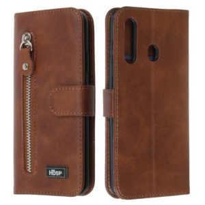 For Galaxy A60 / M40 Zipper Horizontal Flip Leather Case with Wallet & Holder & Card Slots(Brown)