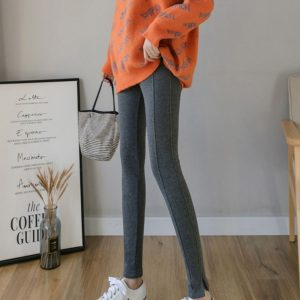 Cotton Outer Wear Feet Plus Velvet Leggings Pregnant Women (Color:Dark Gray Size:L)