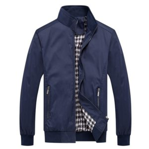 Men Solid Color Collage Long Sleeve Stand Collar Jacket (Color:Dark Blue Size:5XL)