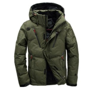 White Duck men coat male Clothing winter Down Jacket Outerwear, Size:XXXXL(Green)