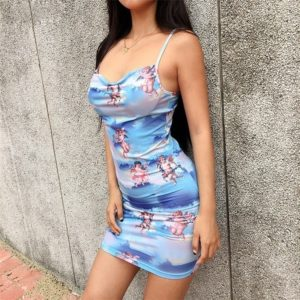 Printed Camisole Dress (Color:Blue Size:XL)