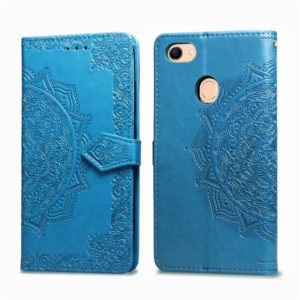 For OPPO F5 Embossed Mandala Pattern PC + TPU Horizontal Flip Leather Case with Holder & Card Slots(Blue)