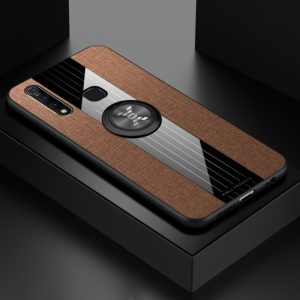 For Vivo Z5X XINLI Stitching Cloth Texture Shockproof TPU Protective Case with Ring Holder(Brown) (XINLI)