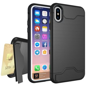 For iPhone X / XS Brushed Texture Protective Back Cover Case with Holder & Card Slot(Black)