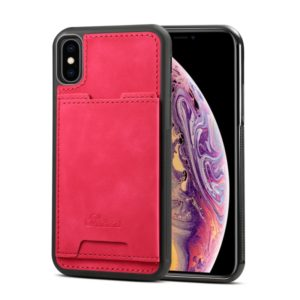 Shockproof TPU + PU Protective Case for iPhone XS Max, with Holder & Card Slot (Rose Red)