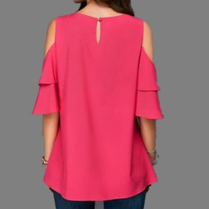 Round Neck Strapless Trumpet Sleeves Loose Chiffon Shirt, Size:L(Red)