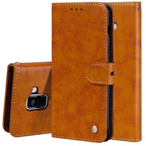 For Galaxy A8 (2018) Business Style Oil Wax Texture Horizontal Flip Leather Case with Holder & Card Slots & Wallet(Brown)