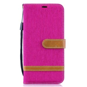 Color Matching Denim Texture Leather Case for Galaxy A10, with Holder & Card Slots & Wallet & Lanyard(Rose red)
