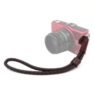 Weave Style Wrist Strap Grip PU Leather Hand Strap for DSLR / SLR Cameras (Coffee)