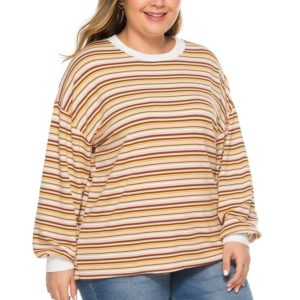 Casual Horizontal Strip Super Loose Large Size Sweater (Color:As Show Size:XXXXL)