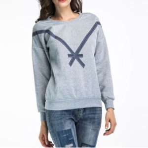 Personalized Loose Printed Sweatshirt (Color:Grey Size:XL)