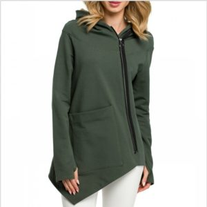 Irregular Pocket Jacket Sweatshirt (Color:Dark Green Size:XXXL)