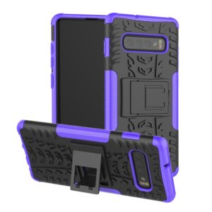 Tire Texture TPU+PC Shockproof Case for Galaxy S10+, with Holder (Purple)