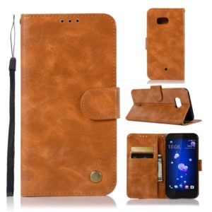 For HTC U11 Retro Copper Buckle Crazy Horse Horizontal Flip PU Leather Case with Holder & Card Slots & Wallet & Lanyard(Gold yellow)