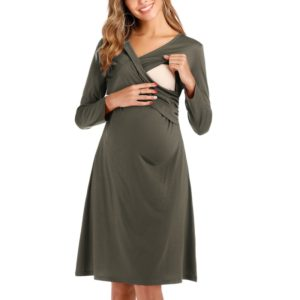 Long Sleeve Cross V-Neck Maternity Breastfeeding Dress (Color:Army Green Size:XXL)