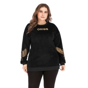 Plus Size Women Embroidered Round Neck Long Sleeve Pullover (Color:Black Size:XL)