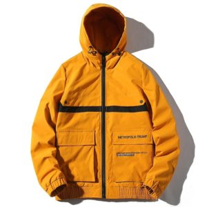 Hooded Trend Embroidery Casual Youth Jacket for Men (Color:Yellow Size:XL)