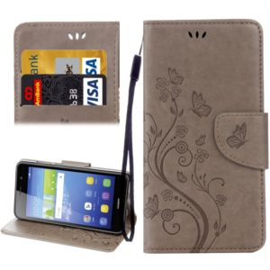 For Huawei Y6 II Butterflies LOVE for Flowers Embossing Horizontal Flip Leather Case with Holder & Card Slots & Wallet & Lanyard(Grey)