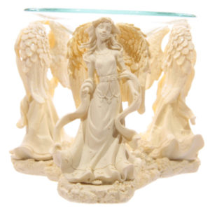 Decorative Cream Angel Design Oil Burner with Glass Dish