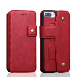 Cowhide Texture Magnetic Absorption Detachable Horizontal Flip Leather Case For iPhone SE 2020 & 8 & 7, with Holder & Card Slots & Wallet (Red)