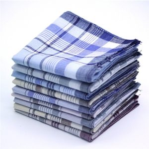 Multicolor Plaid Stripe Men Pocket Squares Business Chest Towel Handkerchiefs 100% Cotton(Random Color )