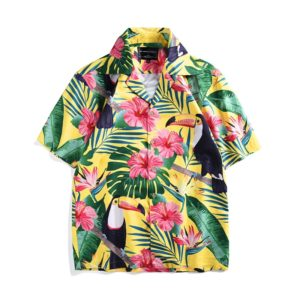 Summer Toucan Print Tropical Style Short Sleeve Loose Vacation Shirt, Size: L(As Show)