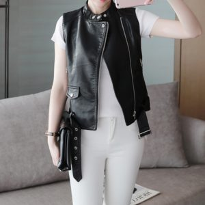 Office Lady Dress Collar Leather Jacket