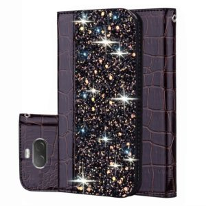 For Sony Xperia 10 Crocodile Texture Glitter Powder Horizontal Flip Leather Case with Card Slots & Holder(Black)